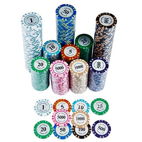 PokerChips 100 gettoni da Poker Accessori per Carte da Poker Fiches della Corona per Il Texas Hold'em Mahjong, Valore nominale Opzionale