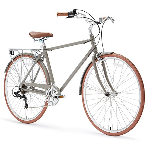 sixthreezero Ride in the Park Men's 7-Speed City Road Bicycle, Grey, 18 Frame/700x32c Wheels