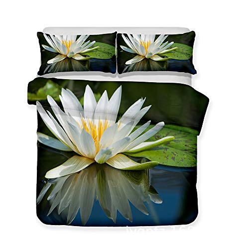 ZXXFR Duvet Cover Set Printed 3d lake white flowers,Bedding Quilt Cover Soft Breathable for Girls Boys 3 Pieces (1 Duvet Cover + 2 Pillow cases)-220x260CM