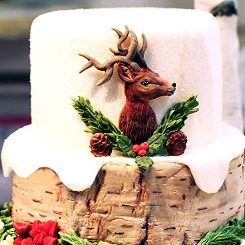 Luwu-Store Elch Hirsch Kopf Geweih Kuchen Silikon Backform Weihnachten Kuchen Dekorieren Fondant Formen Schokolade Süßigkeiten Formen