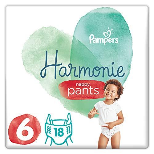 Pampers - Pañales de armonía, talla 6, 15 + kg, protege la piel sensible de los bebés, ingredientes de origen vegetal, fáciles de cambiar, 72 pañales (lote de 4 x 18)