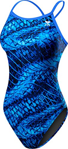 TYR Women's Plexus Diamondfit Swimsuit, Blue, 40