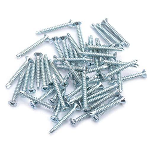 Yosoo Health Gear Selbstschneidende Schrauben Metall, M4.2 50 Sortiment für selbstschneidende Flachkopfschrauben, Selbstbohrendes Schraubenset aus Edelstahl, M4.2 * 50 Stück