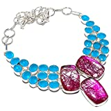 Pink Rutilated Quartz, Blue Chalcedony 925 Sterling Silver Necklace 18' RE-210