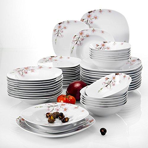 piatti servizio japan VEWEET Annie Servizio da Tavola in Porcellana Stoviglie 48 Pezzi con 12 Ciotola per Cereali