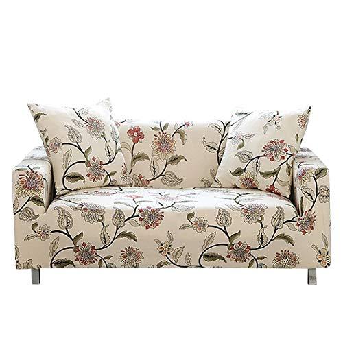 Carvapet Elastischer Sofabezug Sofahusse Gedrucktes Muster Couchbezug Sofa Couch Überwürf (Blume, 3 Sitzer)