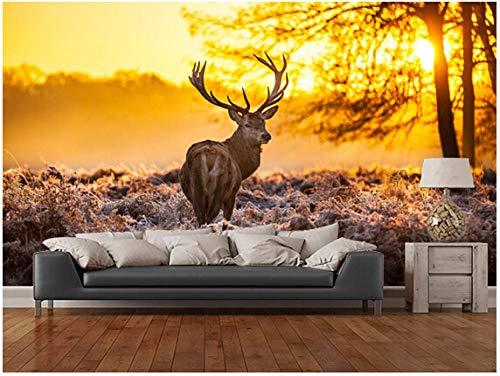 Muurstickers op maat rode herten set muurpapier voor kinderkamer woonkamer tv in de ochtend zonlicht 350 cm.