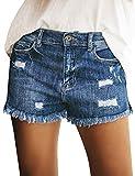 luvamia Women's High Waisted Ripped Denim Shorts Frayed Raw Hem Jean Shorts Casual Shorts, Size L