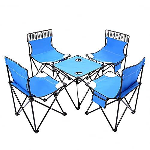 BIANGEY Conjunto de Mesa y Silla Plegables al Aire Libre, 4 sillas y 1 Mesa, Mesa de jardín y sillas, para Interiores y Exteriores, Barbacoa de Camping, Viaje en la Playa, Fiesta en la Piscina,Azul