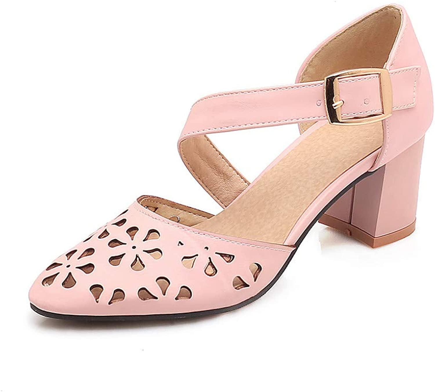 Women High Heels Sandals Closed Toe Cut Out Breathable Ladies Strap Buckle Slip On Casual shoes