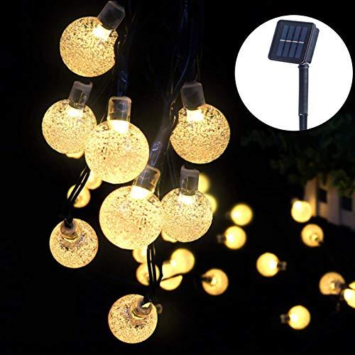ITICdecor - Guirnalda luminosa solar de cristal con bolas de 40 LED, 8 modos, para exteriores, impermeable, interior, fiesta, casa, jardín, Navidad, fiesta, boda, blanco cálido