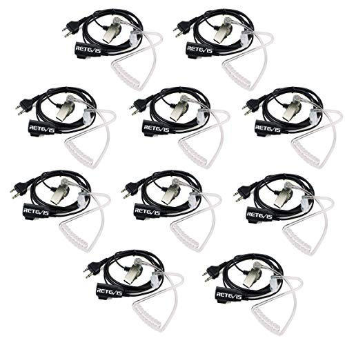 Retevis Auriculares para Walkie Talkie 2 Pin Tubo Acústico Transparente Pinganillo Compatible con Walkie Talkie Midland G6 G7 G12 M48 GXT250 GXT550 GXT650 LXT80 LXT112 Alan39 Alan507 (10 pacs)