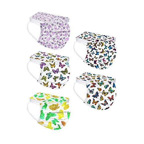 50 Piezas Adulto Desechable,Multicolores,con Tipos Diferentes Estampado de Mariposas,Lindo Bufandapara Deportes Al Aire Libre En Interiores Uso Diario