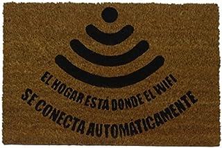 koko doormats felpudos Entrada casa Originales, Fibra de Coco y PVC, Felpudo Exterior Friki WiFi, 40x60x1.5 cm   Alfombra ...
