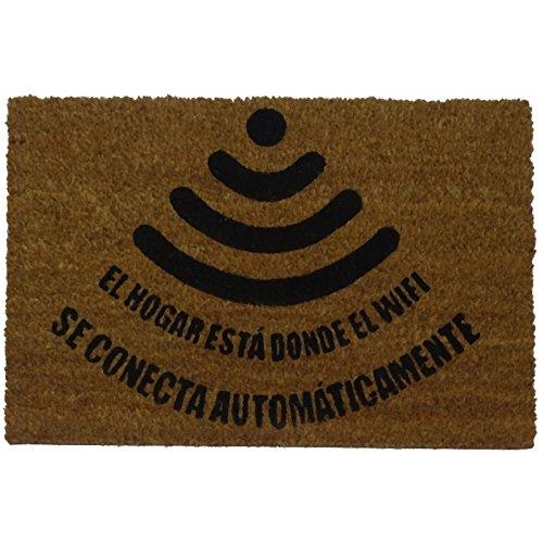 koko doormats felpudos Entrada casa Originales, Fibra de Coco y PVC, Felpudo Exterior Friki WiFi, 40x60x1.5 cm | Alfombra...