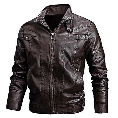 Chaquetas para hombre, chaquetas de cuero para hombre, estilo retro, con cremallera, estilo clásico, cálido, para otoño e invierno