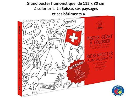Grand Poster de la Suisse à colorier 100 x 70 cm avec Tous Les lieux, batiments et Maisons typiques du la Suisse représentés avec Humour à colorier
