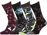 Feetly Funny Socks for Men Fun Dress Socks for Men 4-Pack Einstein Molecular Chemistry Atoms Nerd Socks for Teen Boys Gift 8-12 US