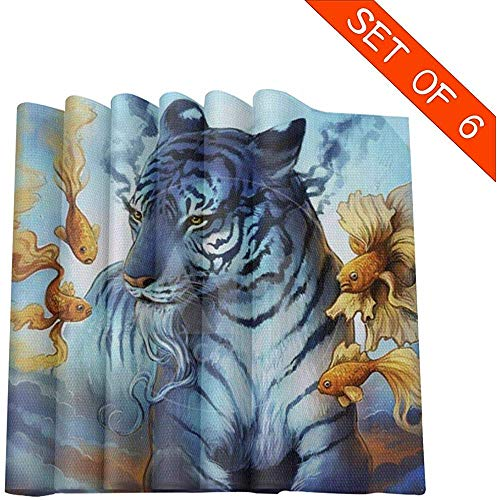 Set de table set de 6 napperons d'art de tigre poisson rouge aquarelle artistique pour la table de la table, tapis de table lavables, 45 x 30 cm