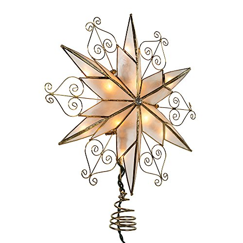 Kurt S. Adler UL3110 Kurt Adler 10-Light 6-Point Capiz Star Treetop with Scroll Design