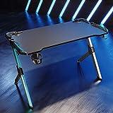 SONNI Gaming Tisch (schwarz / silber)