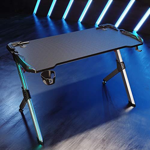 SONNI Gaming Tisch mit LED, RGB Gaming Schreibtisch mit Getränkehalterung und Kopfhörerhaken, Schwarz 120x60x75 cm