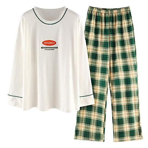 DFDLNL Otoo Invierno Conjuntos de Pijamas Largos Algodn Ropa de Dormir para Mujeres Pantalones Blancos Superiores Verdes Pijamas Sueltos Ropa de Dormir Cuello Redondo XL