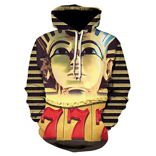 CHWEI Gebreide Hoed 3D Koppels Hoodies Farao Tekenen Sweatshirt Pullover Rits O Hals Grappige Mannen Vrouwen Volwassen Trui Kleding Jas