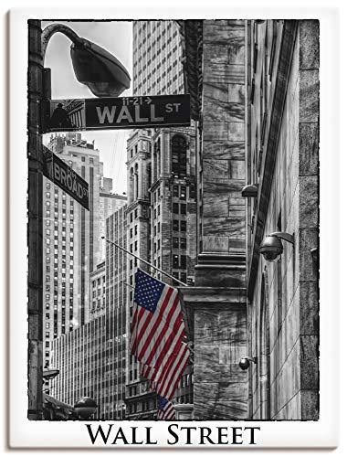 Artland Leinwandbild Wandbild Bild auf Leinwand 45x60 cm Wanddeko New York City Wall Street Börse Stadt USA Amerika Schwarz Weiß T9RW