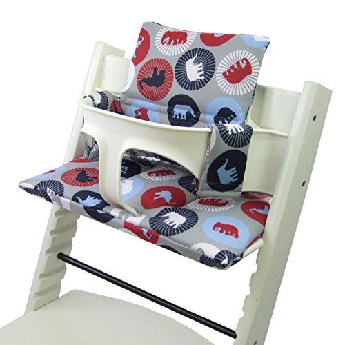 Babys-Dreams Sitzkissen Auflage Sitzkissenset für Stokke Tripp Trapp Hochstuhl *20 FARBEN* Ersatzkissen Kissen 2 teilig (Marine Elefanten) XX