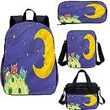 Juego de mochila para adolescentes de 17 pulgadas, juego de bolsas para escuela, viajes, picnic y estilo de dibujos animados.