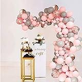 Palloncini Compleanno Rosa Grigio, Palloncino Macaron Palloncini Oro Rosa e Coriandoli per Decorazioni sullo Sfondo di Baby Shower per Feste