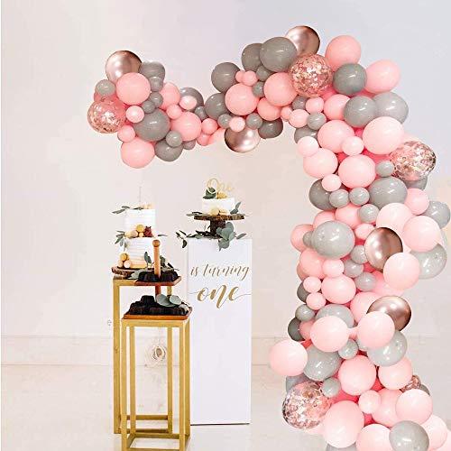 Globos de Cumpleaños de Rosa Gris,  Globo de Macarrón de Oro Rosa y Globos de Confeti para Decoraciones de Fondo de Fiesta de Bienvenida al Bebé