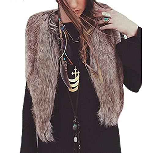 iHENGH Damen Winter Jacke Dicker Warm Bequem Slim Parka Mantel Lässig Mode Frauen Weste ärmelloser Oberbekleidung Lange Haare Weste(Braun, XL)