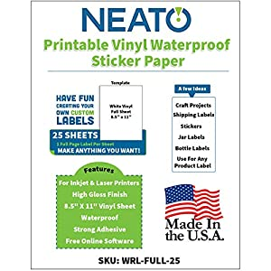 Printable Vinyl Waterproof Sticker Paper for Inkjet and Laser Printer - 25 White Full Sheet Super Glossy Craft Labels - Strong Adhesive - Tear Resistant - Made in The USA - Design Software Included