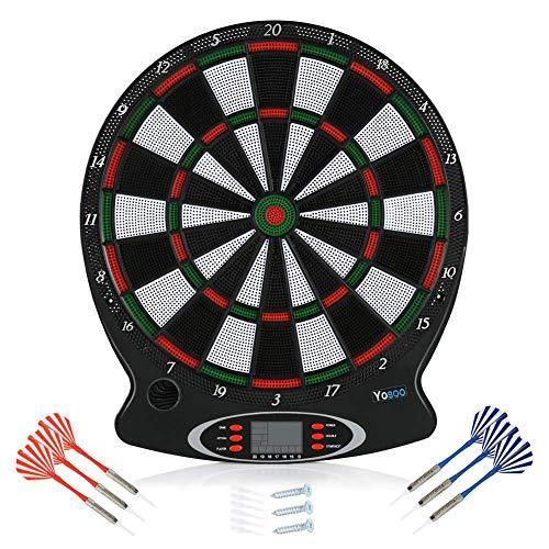 LA-WJ100 Electronic Dart Target Set Induktion Electronic Safety Dart Target,Dartscheibe elektronisch - Dartboard mit 6 Darts [kabellos nutzbar] - Dart für 1 bis 8 Spieler (Schwarz)