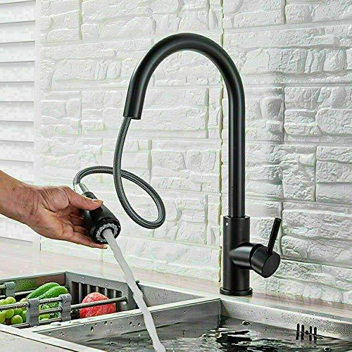 Grifo de cocina comercial negro de acero inoxidable con pulverizador extraíble