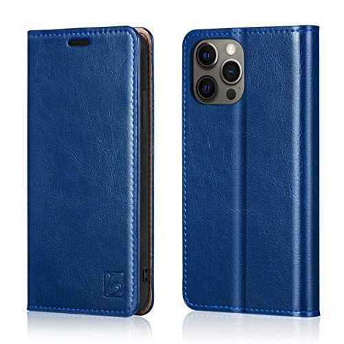 "Belemay Compatible with iPhone 12/12 Pro Wallet Case 5G (6.1"" 2020) Genuine Cowhide Leather Folio Flip Cover [RFID Blocking] Credit Card Holder [Soft TPU Shell] Stand Function Folding Case, Royal Blue"