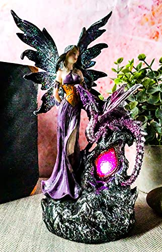Ebros Beautiful Purple Fairy with Dragon Sitting On LED Crystal Geode Night Light Statue Decorative Mythical Fantasy Forest Magic Figurine Collectible Medieval Fairies Dungeons and Dragons Decor