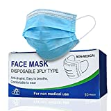 Face Mask Disposable Single Use 50 Pcs/Box - Breathable with 3 Layer + 3PLY Filter for Face Protection | Comfort Protective Face Mask with Adjustable Noseband | Dust-Proof Particulates Latex Free