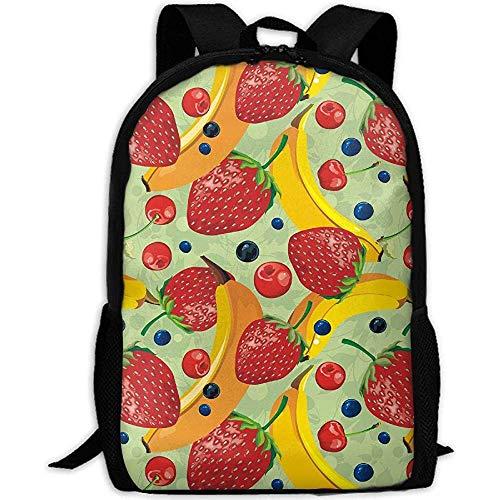 Backpack Reife Erdbeeren Und Bananen Drucken Benutzerdefinierte Lässig Mehrzweck Erwachsene Schultasche Daypack Rucksack Reisen