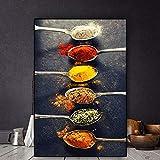 Geiqianjiumai Cereal y Especias Cuchara de Chile Escandinavo Pintura al óleo Carteles e Impresiones Lienzo Arte de la Pared Cocina Comida Imágenes Sala de Estar Pintura sin Marco 50X75CM