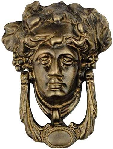 Inicio - Llamador antiguo para puerta de retrato (latón, resistente al desgaste, anticorrosión, anticorrosión, ideal para decoración del hogar, 12 x 16 cm), color bronce