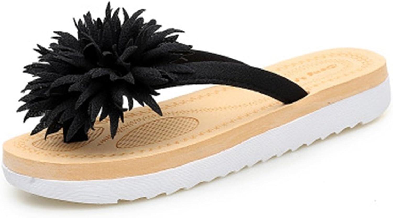 GIY Women's Bohemian Fringe Flower Flip Flops Fashion Comfort Flat Sandals Summer Beach Slippers Thong