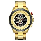 Mens Watches,CURREN Quartz Analog Calendar,Wrist Watch for Men, Fashion Waterproof Stainless Steel Band-Gold
