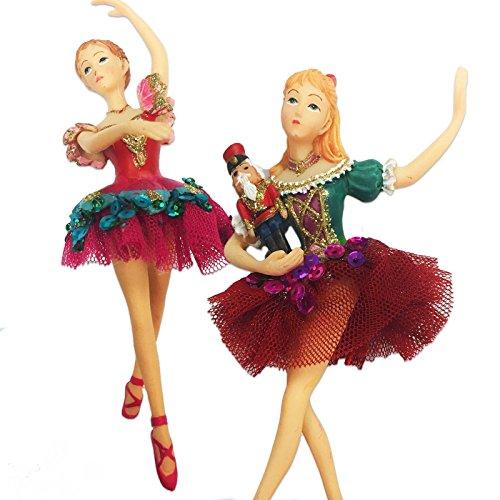 Gisela Graham Set of 2 Nutcracker Clara Ballerina Christmas Tree Decoration New