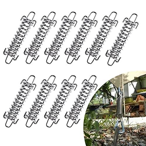 10 resortes de tensión de acero inoxidable, muelle de tensión, amortiguador de choque, muelle trasero, juego de accesorios para montaje seguro para tienda de campaña, accesorios de toldo