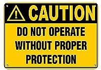 注意適切な保護なしで操作しないでくださいブリキの看板壁の装飾金属のポスターレトロなプラーク警告看板オフィスカフェクラブバーの工芸品