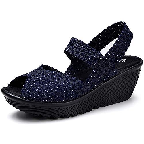 HKR Damen Sandalen mit Keil-Plateau gewebt Mary Jane Pumps Bequeme Arbeitsschuhe, Blau (533 Navy Blue), 37 EU