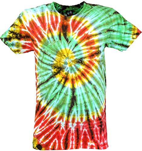 GURU-SHOP, Camiseta Batik, Camiseta Hombre Manga Corta Tye Dye, Verde Claro/Rojo Spiral, Algodón, Tamaño:L, Camisetas Batik